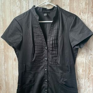 H&M Pleated Black Button up Dress